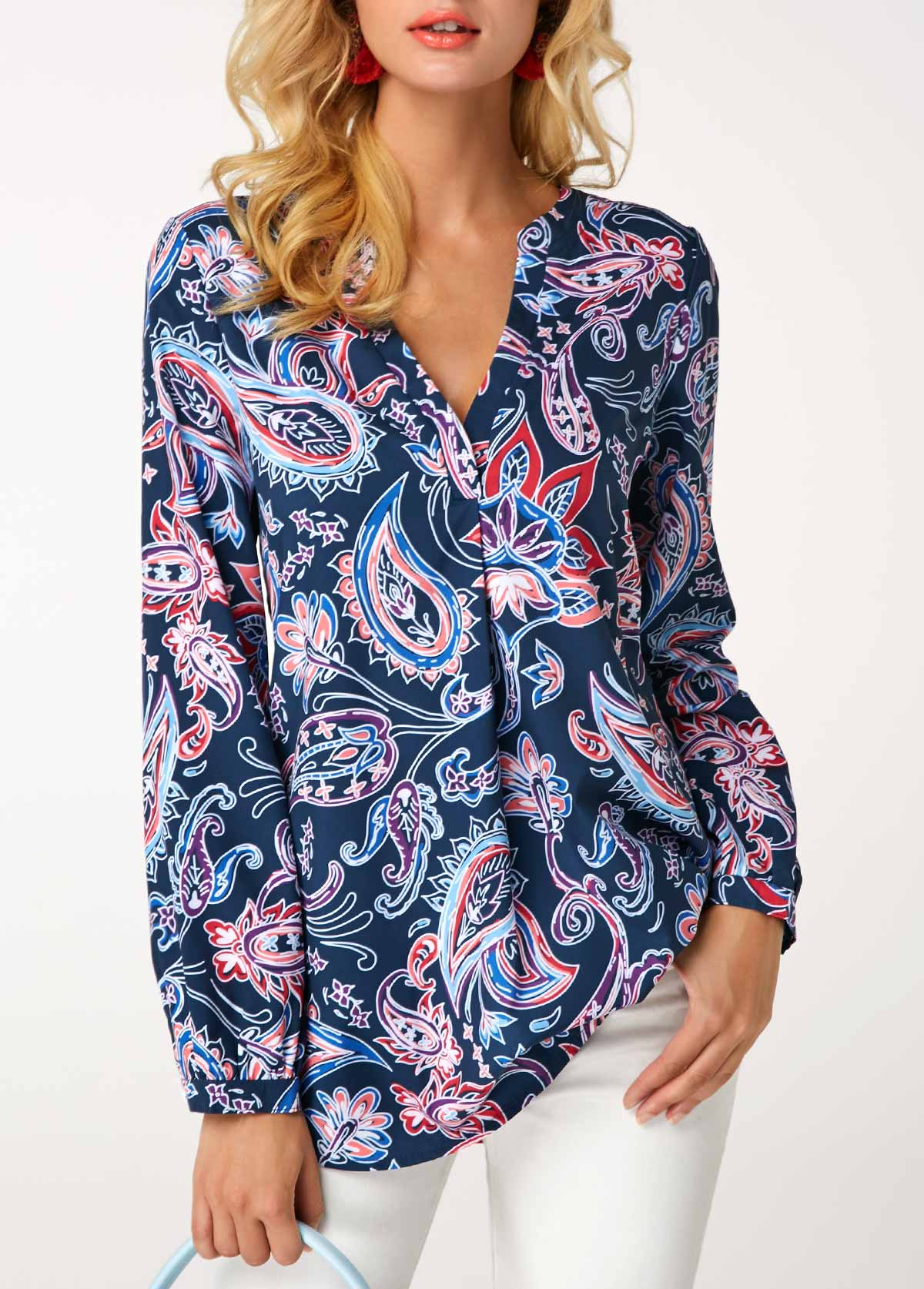 Printed Navy Long Sleeve V Neck Blouse