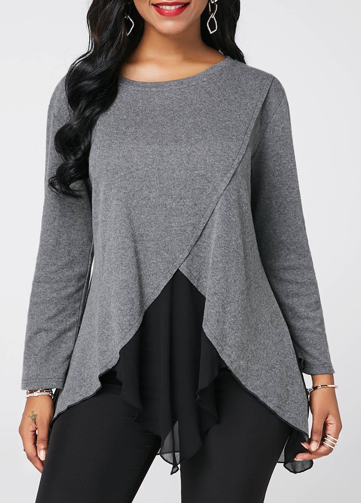 Long Sleeve Chiffon Patchwork Light Grey Blouse