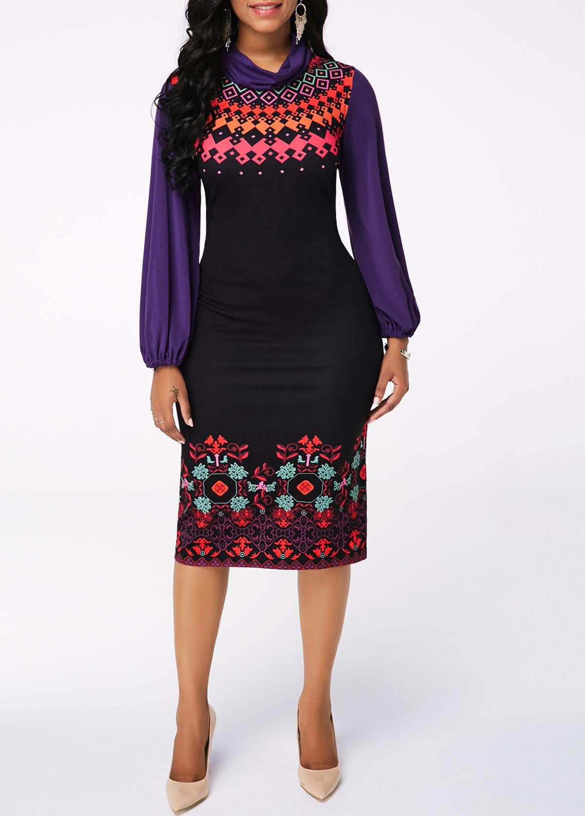 Black Lantern Sleeve Printed Sheath Dress