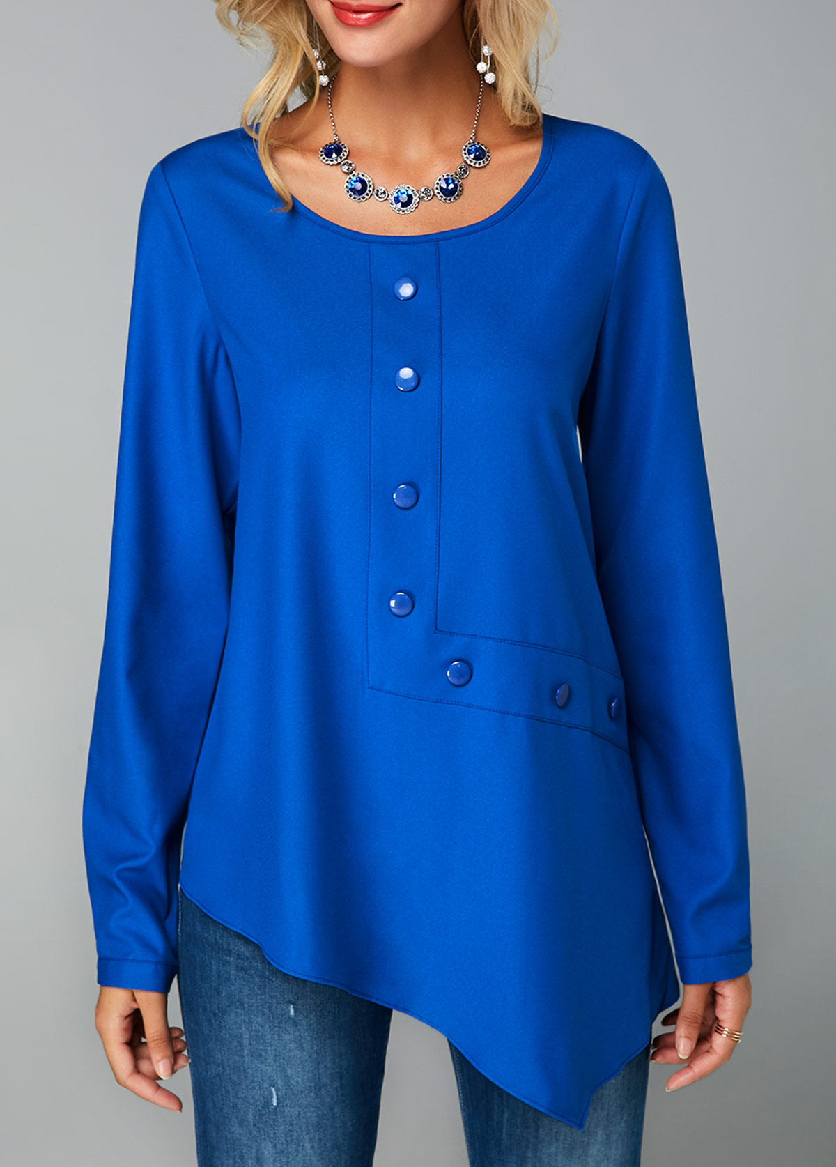 Button Decorated Keyhole Back Royal Blue Blouse