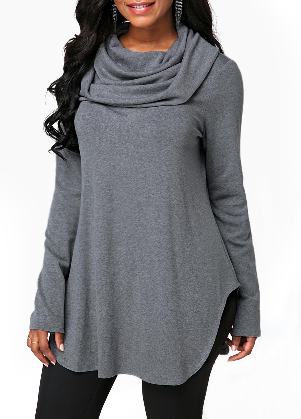 Cowl Neck Grey Long Sleeve Sweatshirt