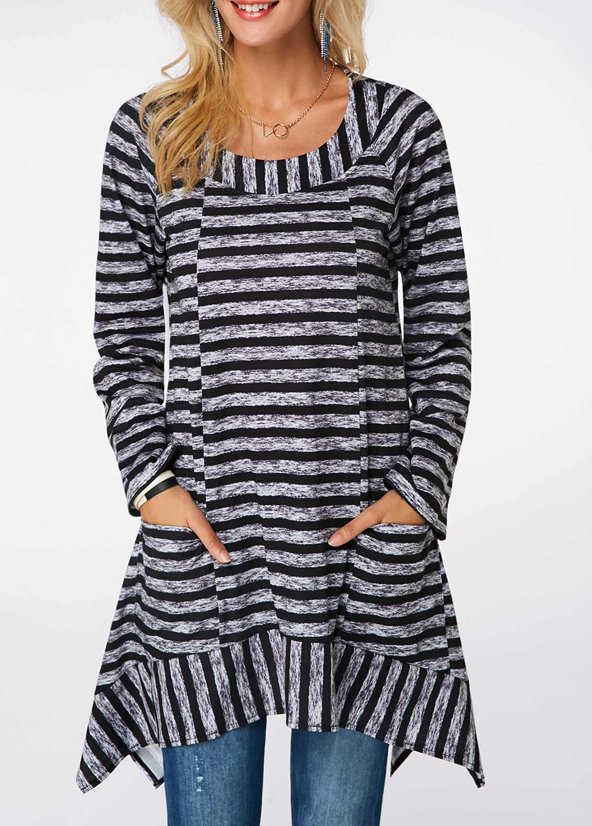 Long Sleeve Striped Asymmetric Hem Blouse