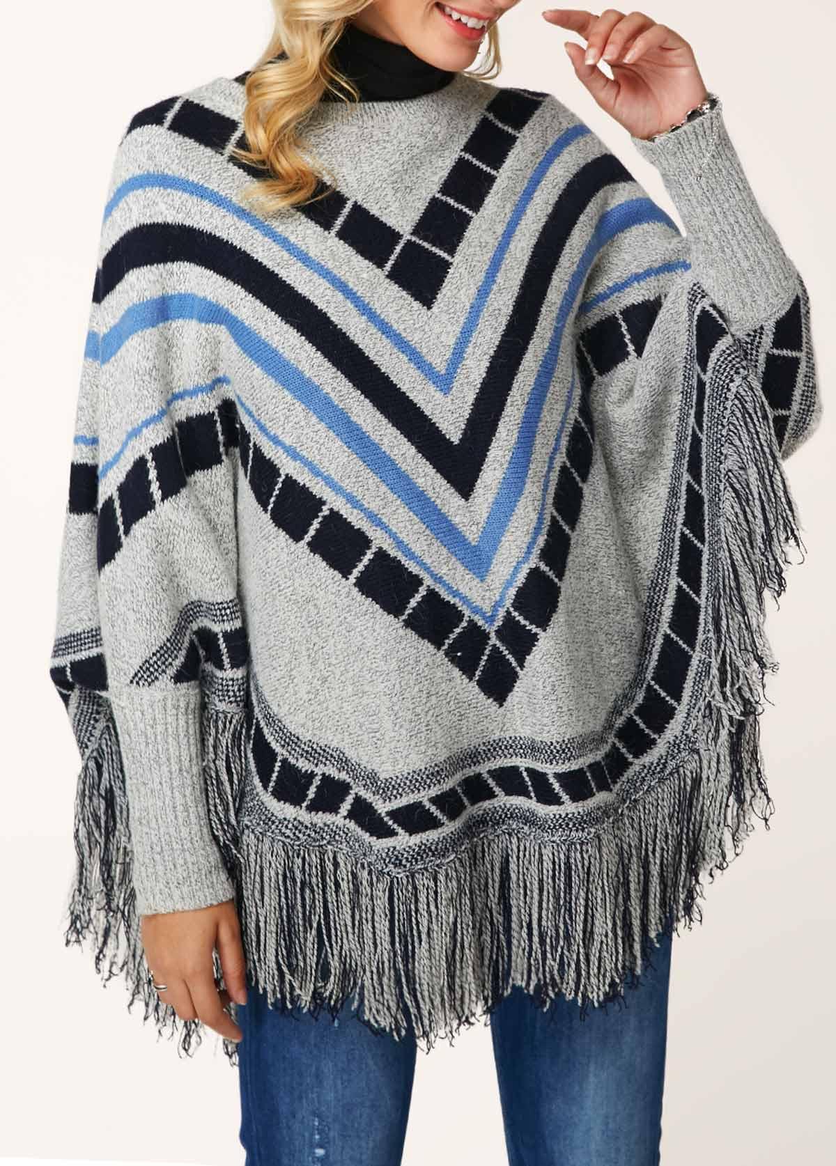 Turtleneck Tassel Hem Chevron Pattern Poncho Sweater