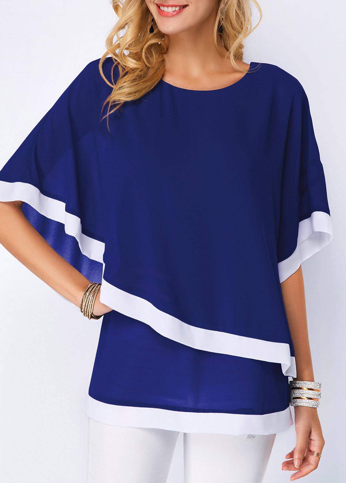 5f949010 Chiffon Overlay Half Sleeve Navy Blue Blouse | Rosewe.com - USD $30.94