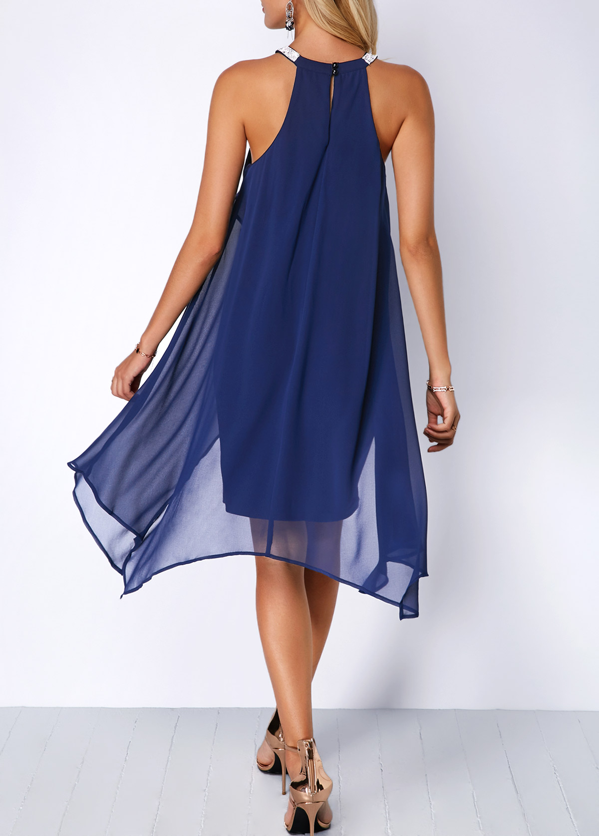 6b8d6aed84608 Blue Chiffon Overlay Embellished Neck Dress | Rosewe.com - USD $35.24