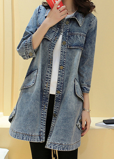 Pocket Turndown Collor Button Up Denim Coat