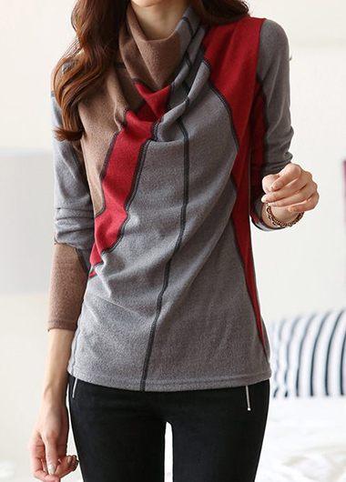 Cowl Neck Printed Long Sleeve T Shirt