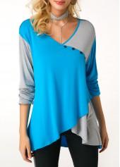 Button Detail Long Sleeve V Neck T Shirt