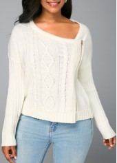 Long Sleeve Beige Zipper Front Knitted Sweater