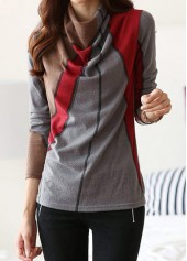 Cowl Neck Printed Long Sleeve T Shirt