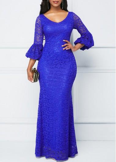 Lantern Sleeve Royal Blue Lace Dress