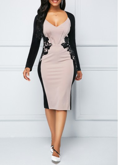 Long Sleeve Lace Panel Back Slit Sheath Dress