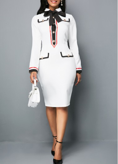 Tie Neck Button Front White Sheath Dress
