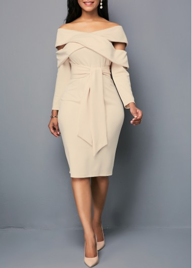 Zipper Back Off the Shoulder Belted Sheath Dress