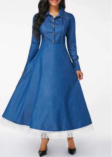 Long Sleeve Button Front Lace Patchwork Denim Dress