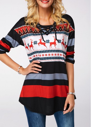 Rosewe Women Sweatshirt Christmas Printed Lace Up Long Sleeve - L