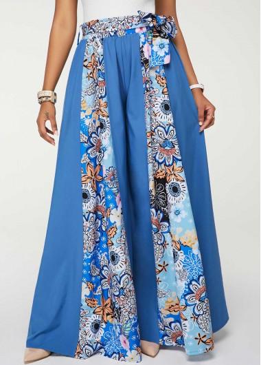 Printed Blue High Waist Belted Loose Pants