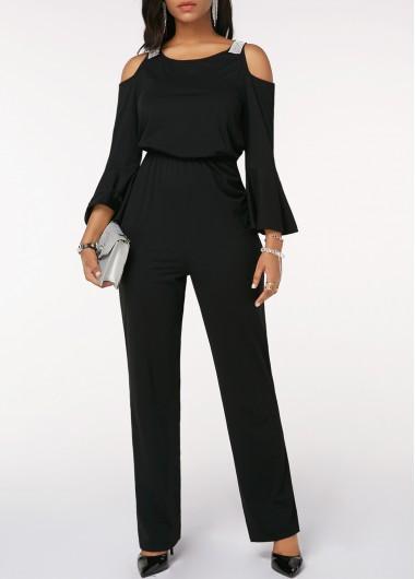 Cold Shoulder Flare Sleeve Cinched Waist Black Jumpsuit
