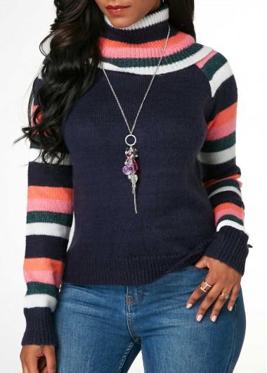 Turtleneck Striped Long Sleeve Navy Blue Sweater