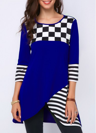 Asymmetrical Plaid Striped Three Quarter Sleeve Top Royal Blue Striped Three Quarter Sleeve T Shirt - XXL
