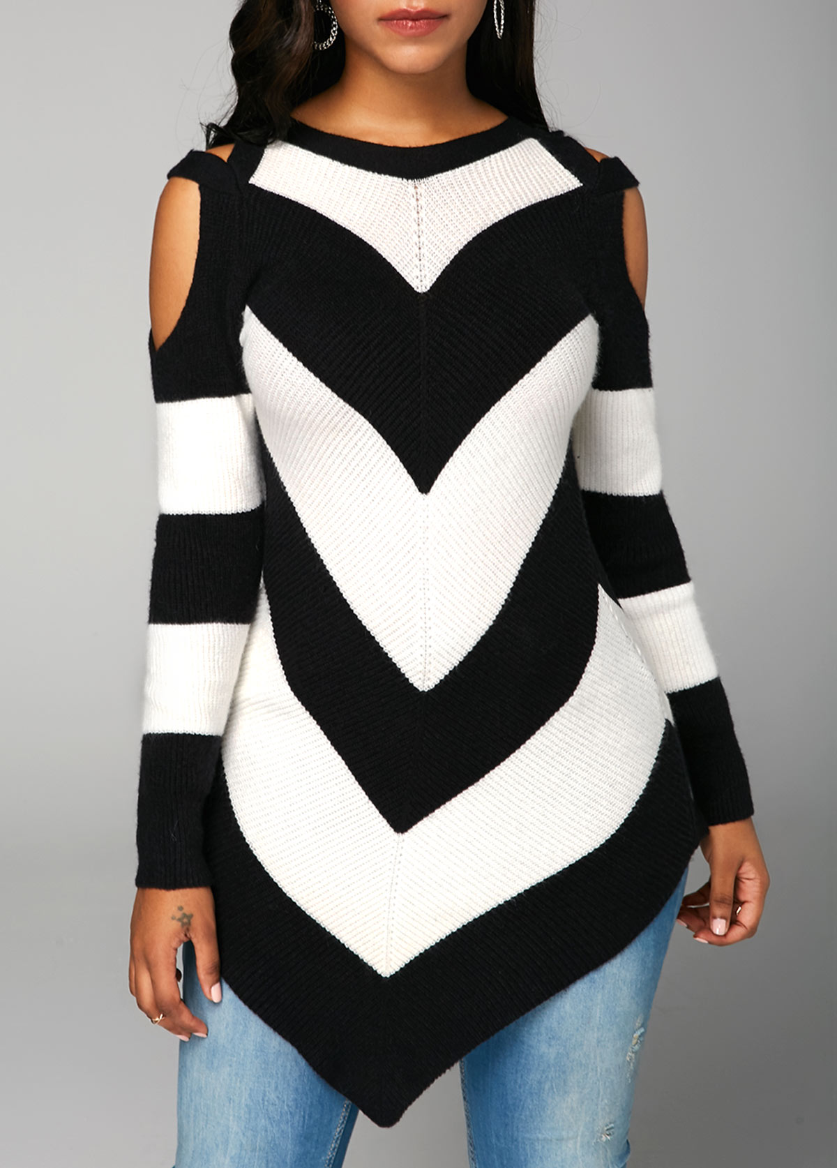 Chevron Pattern Asymmetric Hem Cold Shoulder Sweater