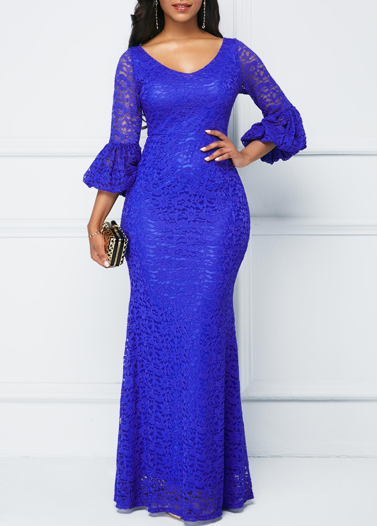 Lantern Sleeve Royal Blue Lace Dress
