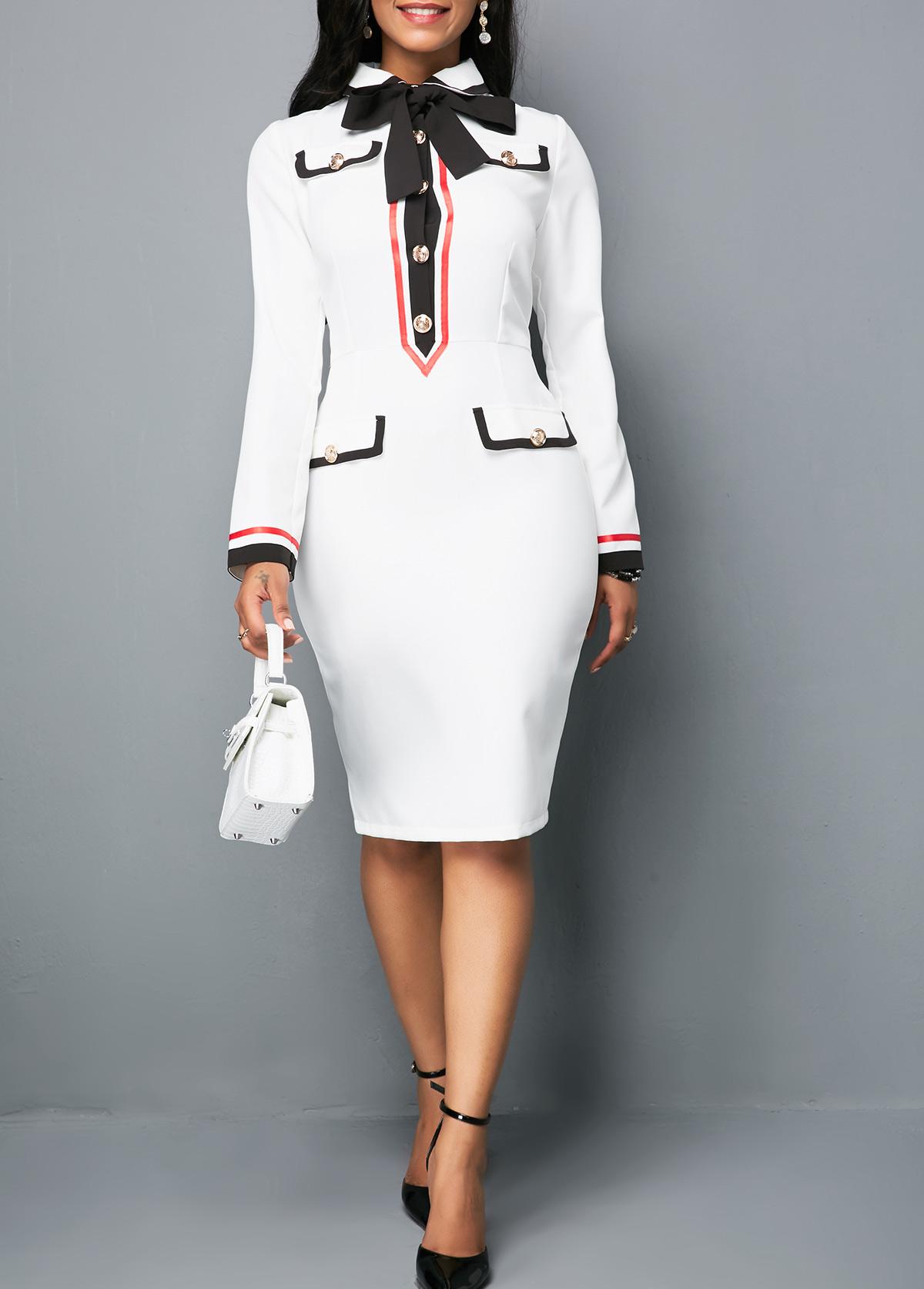 Tie Neck Button Front White Sheath Dress