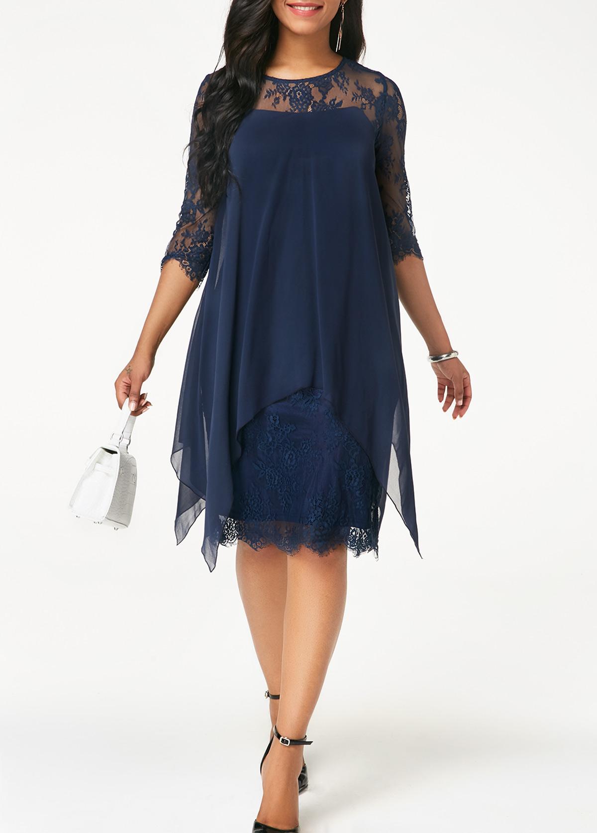 Chiffon Overlay Navy Blue Three Quarter Sleeve Lace Dress
