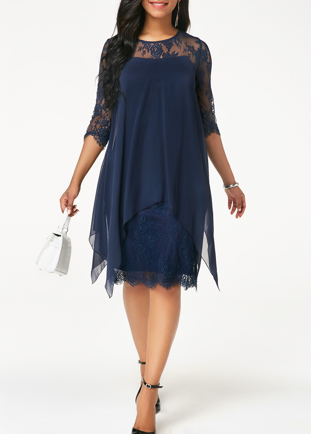 Chiffon Overlay Navy Blue Three Quarter Sleeve Lace Dress