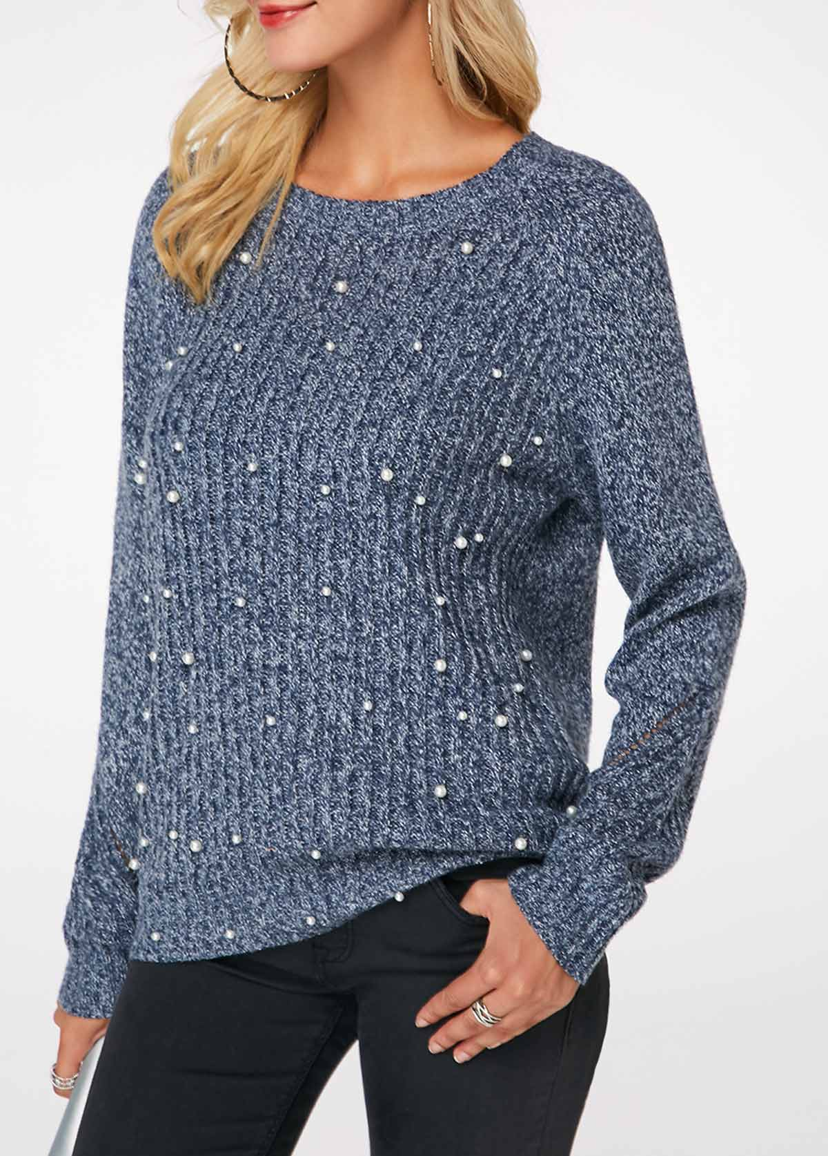 Faux Pearl Embellished Round Neck Dusty Blue Sweater