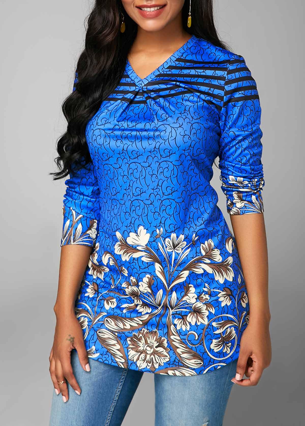Blue V Neck Printed Long Sleeve Blouse