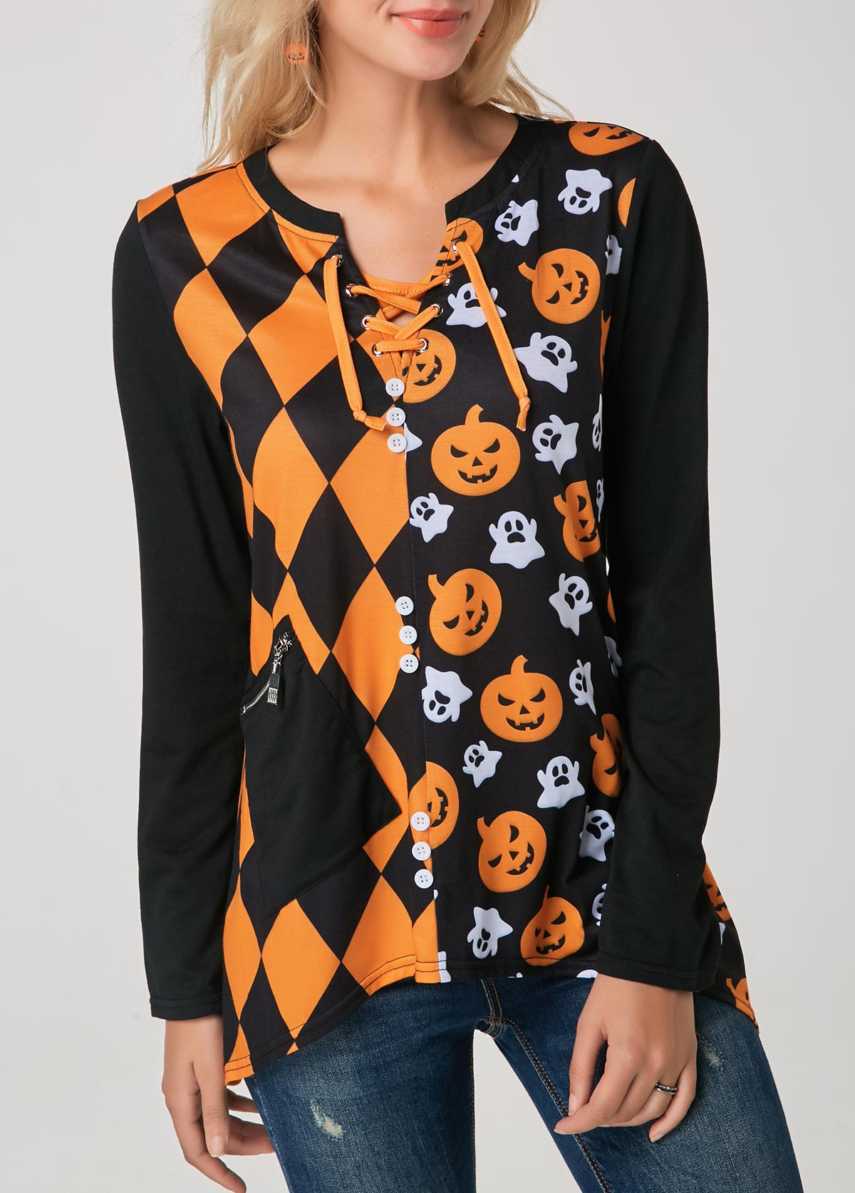 Asymmetric Hem Printed Halloween T Shirt