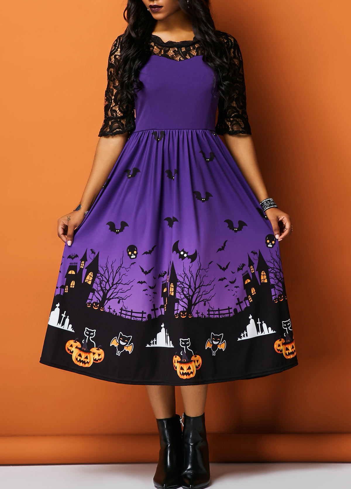 Halloween Printed Half Sleeve Lace Panel Dress