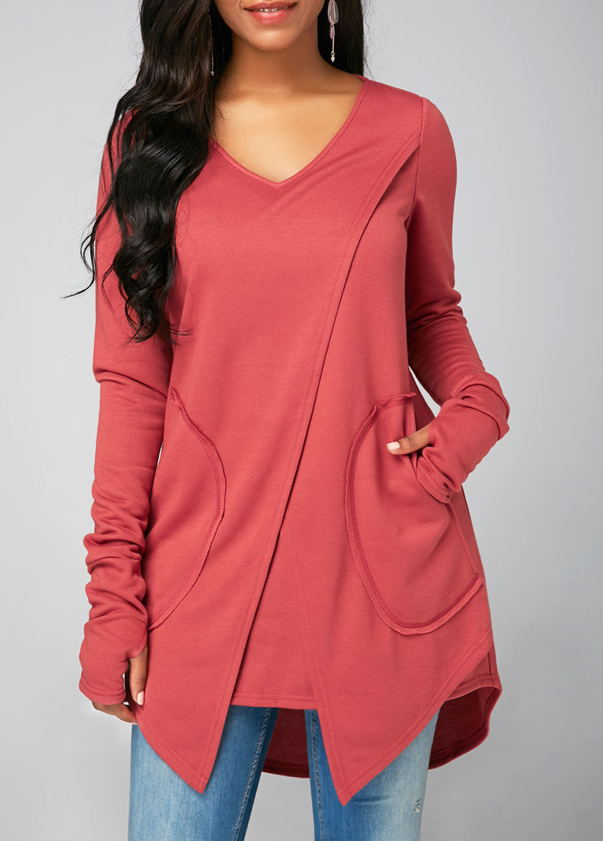 Asymmetric Hem Long Sleeve V Neck Sweatshirt