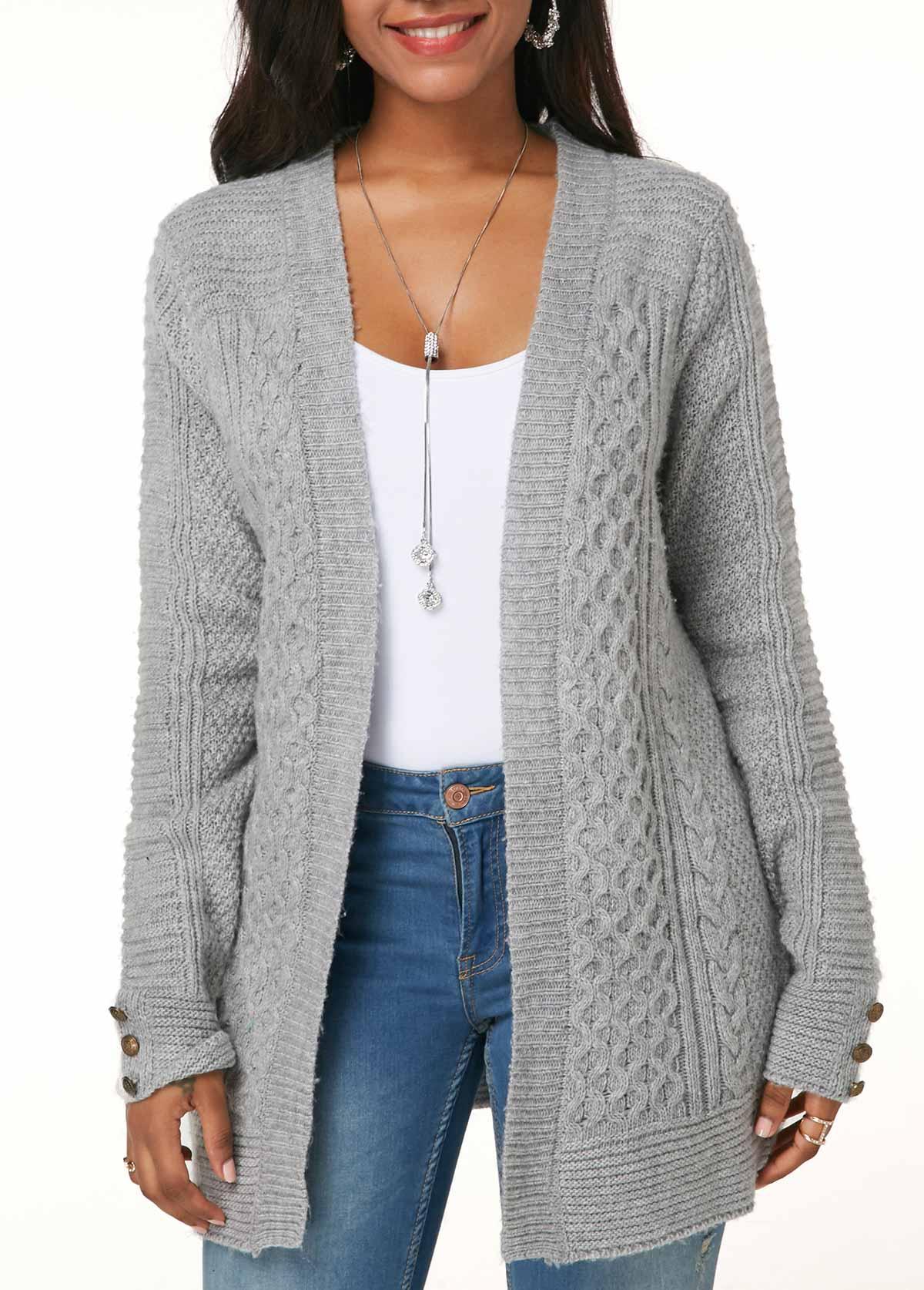Light Grey Long Sleeve Button Detail Knitting Cardigan