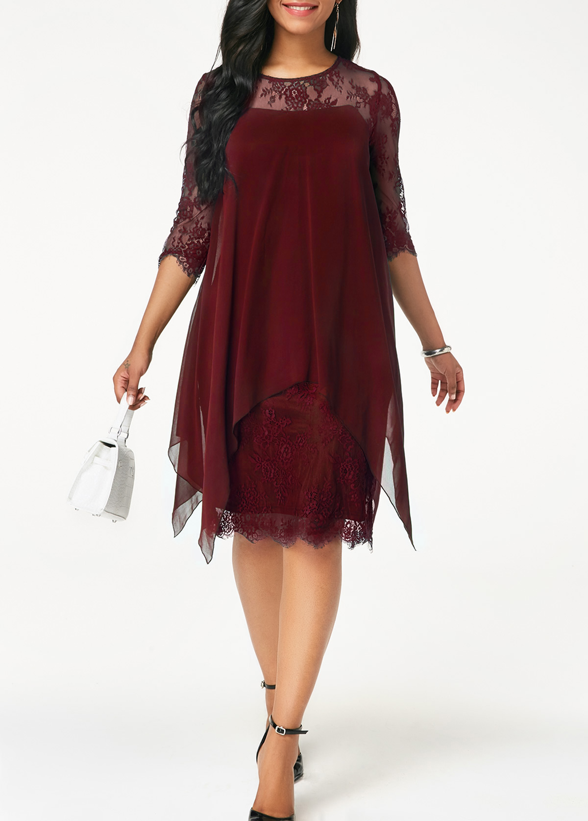 ef4c2e80933 Three Quarter Sleeve Wine Red Lace Dress