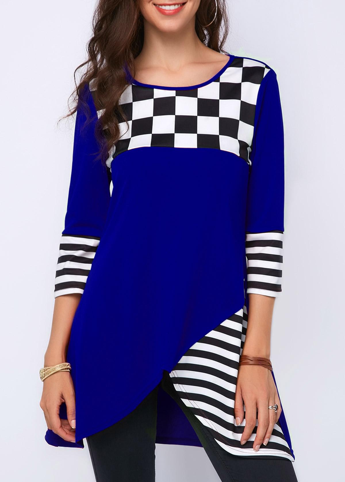 Royal Blue Striped Three Quarter Sleeve T Shirt