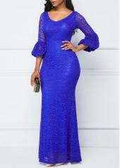 wholesale Lantern Sleeve Royal Blue Lace Dress