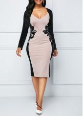 Long Sleeve Lace Panel Back Slit Sheath Dress
