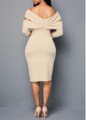 wholesale Zipper Back Off the Shoulder Belted Sheath Dress