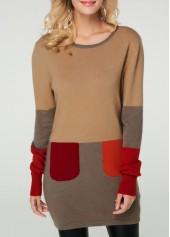 Long Sleeve Light Coffee Round Neck Sweater