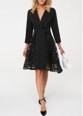 Three Quarter Sleeve Mesh Patchwork Notch Collar Dress