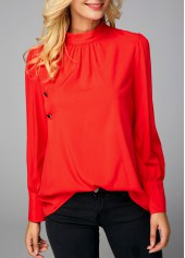 Button Detail Mock Neck Orange Red Blouse