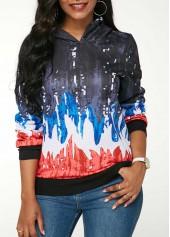Long Sleeve Printed Hooded Collar Sweatshirt