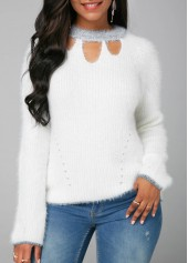 White Cutout Front Long Sleeve Faux Mohair Sweater
