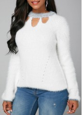 wholesale White Cutout Front Long Sleeve Faux Mohair Sweater