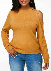 wholesale Ginger Cutout Shoulder Faux Pearl Embellished Sweater