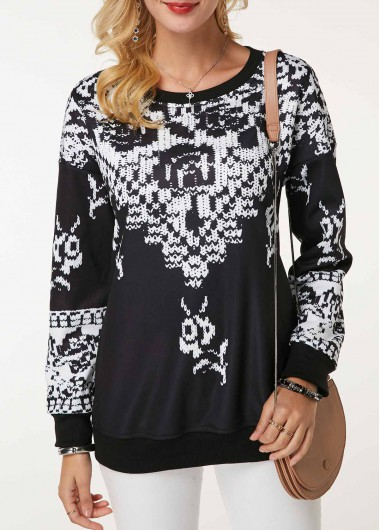 Rosewe Women Sweatshirt Black And White Printed Long Sleeve - M