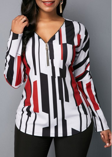 Zipper Detail V Neck Long Sleeve Blouse