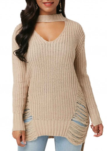 Women'S Khaki Long Sleeve Choker Neck Sweater Distressed Pullover Tunic Casual Sweater By Rosewe - XXL